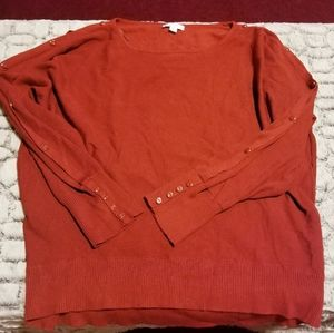 NY&C Burnt Sienna Buttoned Open LongSleeve Sweater